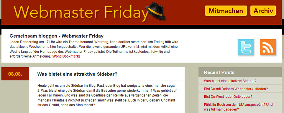 Sidebar im Blog – Webmasterfriday
