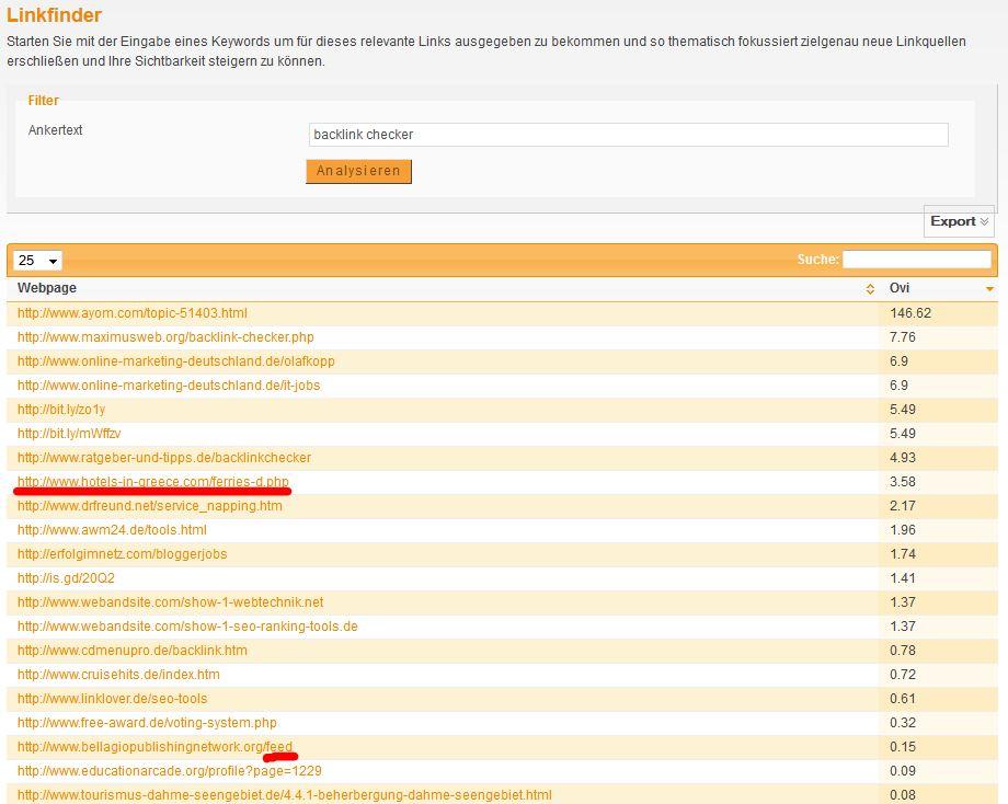 XOVI Backlink Check Urheberrecht