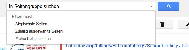 Um die Qualität weiter zu verbessern, lohnt es sich nach atypischen Seiten zu suchen. Dies wird, nach anklicken der Produktseite, als Auswahl im Suchfeld angeboten: