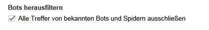 Google Analytics: bekannte Bots filtern